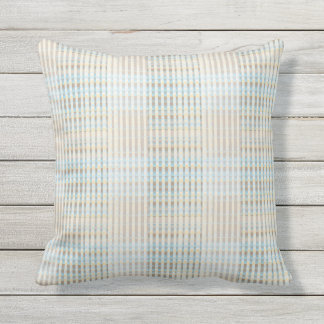Blue Tan Taupe Ribbon Stripes Outdoor Pillow 16x16