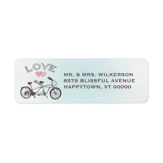 Blue Tandem Bicycle Love Label
