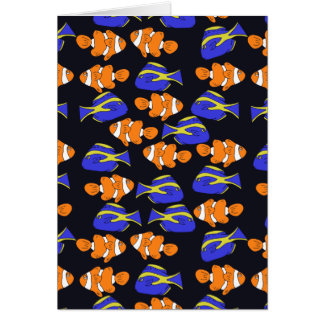 Blue Tang and clownfish ocean art Card