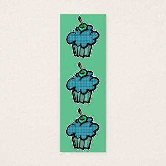 blue tartan plaid cupcake bookmark mini business card