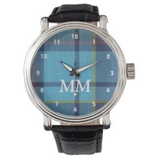 Blue tartan plaid monogrammed watch