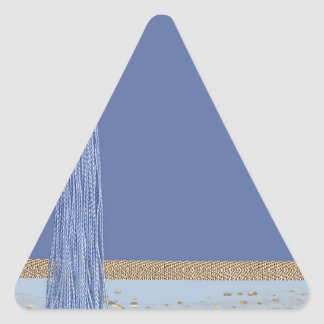 Blue Tassel, Leaf Accent, Abstract Gold, Blue Triangle Sticker