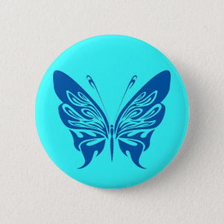 BLUE TATTOO BUTTERFLY GRAPHIC LOGO 2 INCH ROUND BUTTON