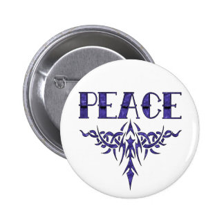 Blue Tattoo Peace Art 2 Inch Round Button