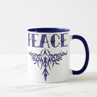 Blue Tattoo Peace Art Mug