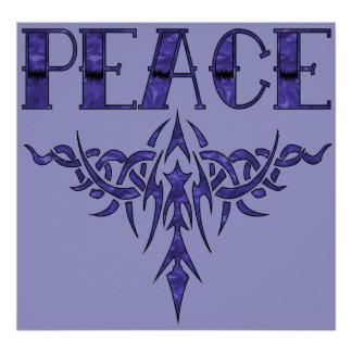 Blue Tattoo Peace Art Poster