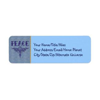 Blue Tattoo Peace Art Return Address Label