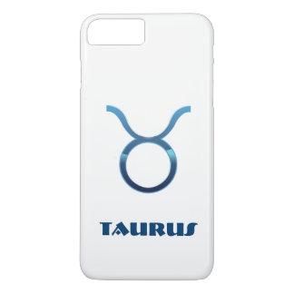 Blue Taurus Zodiac Sign On White iPhone 8 Plus/7 Plus Case