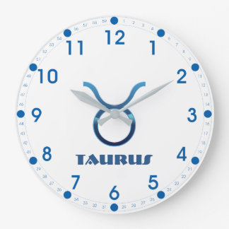 Blue Taurus Zodiac Sign On White Large Clock
