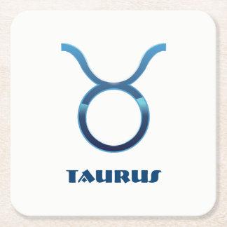 Blue Taurus Zodiac Sign On White Square Paper Coaster
