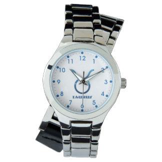 Blue Taurus Zodiac Sign On White Watch