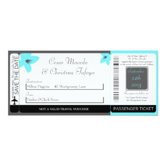 Blue Tea Arizona Boarding Pass Wedding Invitation