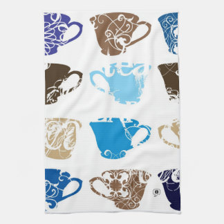 blue teacups kitchen towel