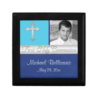 Blue, Teal 1st Communion Keepsake Jewelry Box