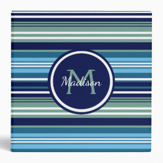Blue Teal And White Striped Pattern Name School Binder