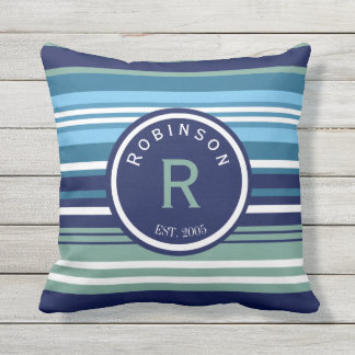 Blue Teal And White Stripes Family Name Throw Pillow