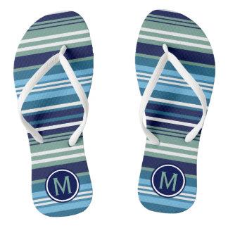 Blue Teal And White Summer Stripes Flip Flops
