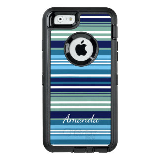 Blue Teal And White Summer Stripes OtterBox Defender iPhone Case
