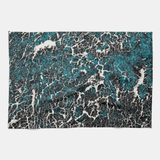 Blue Teal Black White Abstract Pattern Kitchen Towel