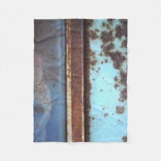 Blue teal brown custom antique car, rusted metal fleece blanket