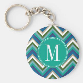 Blue & Teal Chevron Pattern with Monogram Basic Round Button Keychain