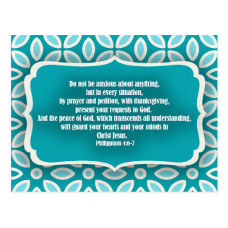 Blue Teal Floral Bible Verse Encouragement Postcard