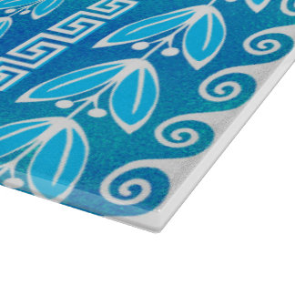 Blue Teal Glass Greek  Pattern Cutting Board