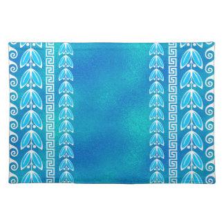 Blue Teal Glass Greek  Pattern Placemat