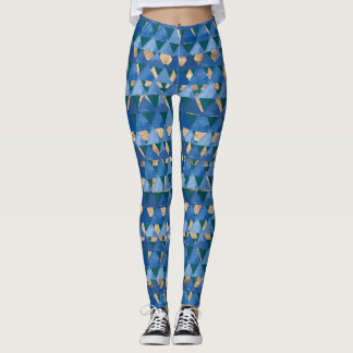 Blue, teal green and gold geometric deco pattern leggings