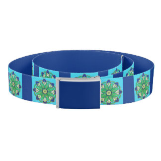 Blue Teal Green Turquoise Floral Belt