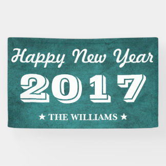 Blue Teal Grunge | Happy New Year 2017 Banner