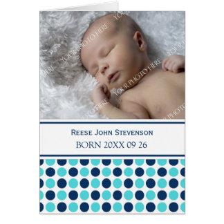 Blue Teal It's a Boy Photo Birth Announcement