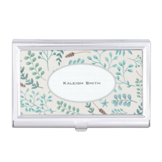 Blue Teal Leaves / Greenery on White Business... Business Card Holder