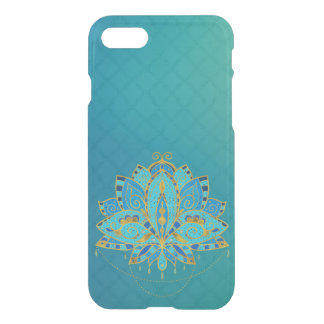 Blue Teal Lotus with Golden Accents iPhone 8/7 Case
