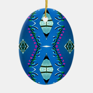 Blue Teal Magenta 'Venice' Tribal Pattern Ceramic Oval Ornament