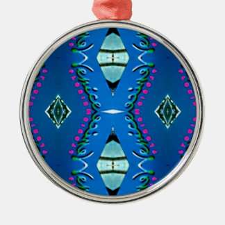 Blue Teal Magenta 'Venice' Tribal Pattern Silver-Colored Round Ornament