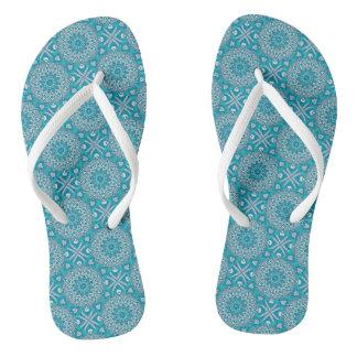 Blue & Teal Mandala Flip Flops