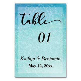 Blue/Teal Mandala Watercolor Wedding Table Number Table Card