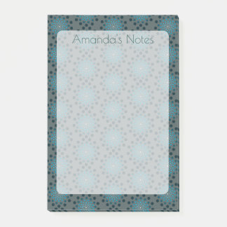 Blue Teal Medallion Personalized Post-it Notes