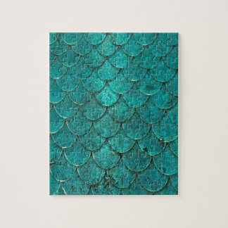 Blue Teal Mermaid Scales Jigsaw Puzzle
