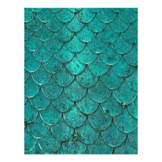 Blue Teal Mermaid Scales Letterhead