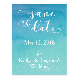 Blue & Teal Ombre Watercolor Save the Date 4 Postcard