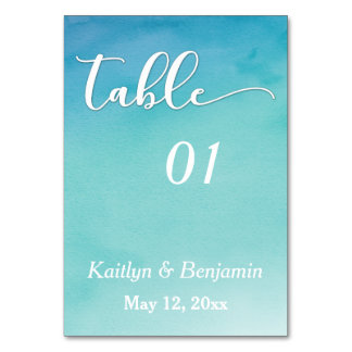 Blue & Teal Ombre Watercolor Wedding Table Number