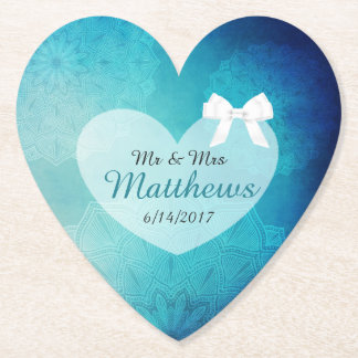 Blue Teal Personalized Wedding Heart Coasters