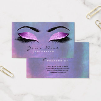 Blue Teal  Pink Beauty Lashes Makeup Eyes Glitter Business Card