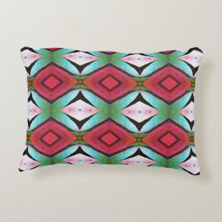 Blue Teal Pink Colorful Pattern Accent Pillow