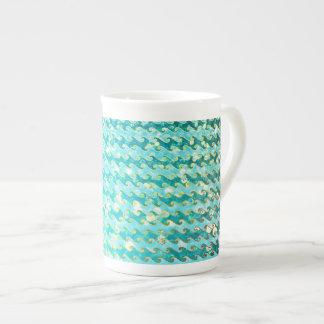 Blue Teal Sparkle Ocean Mermaid Waves Pattern Tea Cup
