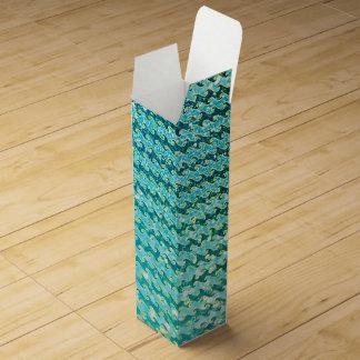 Blue Teal Sparkle Ocean Mermaid Waves Pattern Wine Gift Box