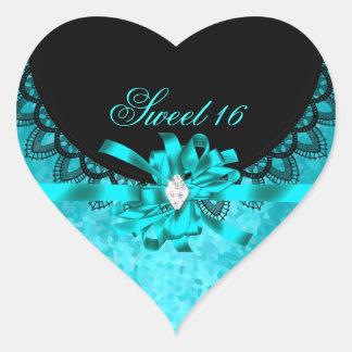Blue Teal Sweet Sixteen Sweet 16 Black Lace Heart Sticker