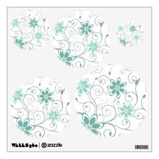 Blue Teal Swirling Flowers Wall Sticker